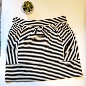 Madewell black & white striped skirt